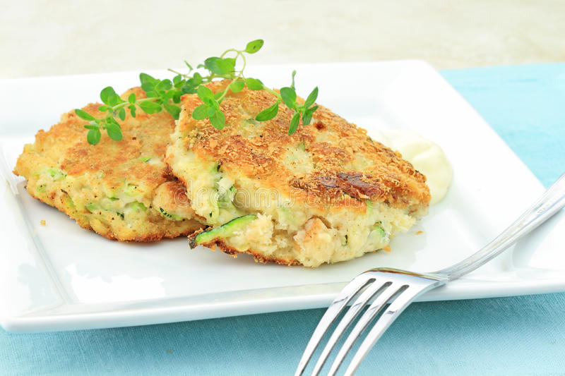 Zucchini Crab Cakes royalty free stock image