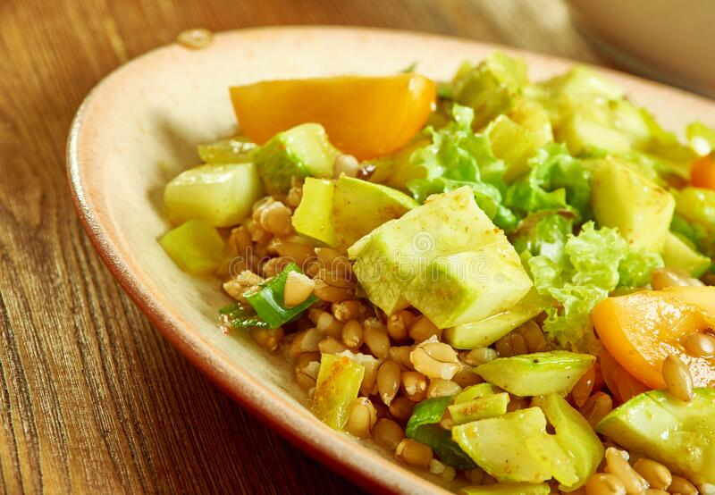 Zucchini Farro Salad with Homemade Pesto royalty free stock images