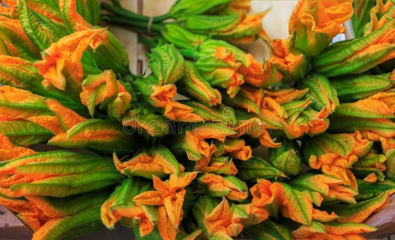 Zucchini kwitnie dla sprzedaży przy kantora rynkiem w Wenecja, Włochy C obraz stock