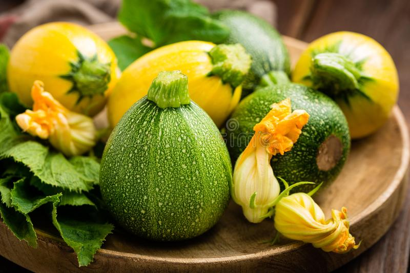 Zucchini med sidor och blommor royaltyfria foton
