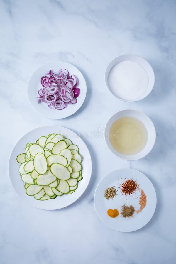 Zucchini Onions Spices Vinegar Sugar stock images