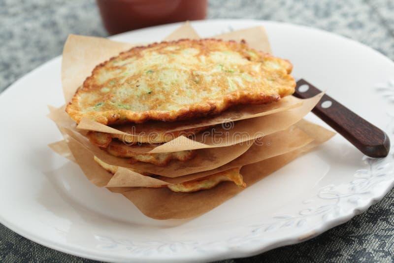 Zucchini pancakes stock images