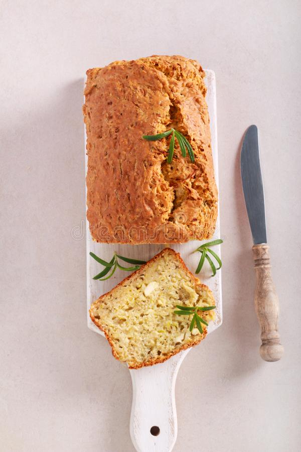 Zucchini, rosemary and cheese savory bread stock images
