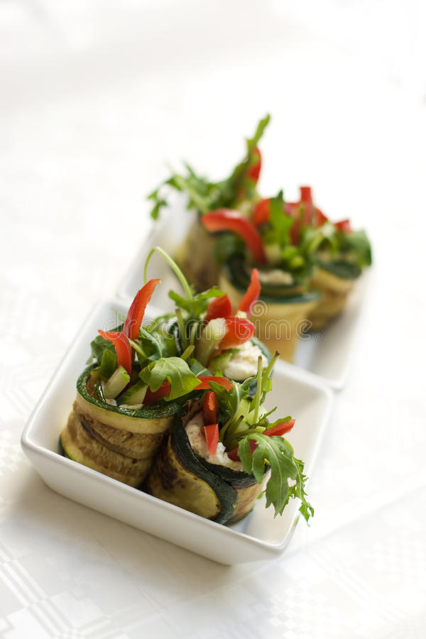 Free Zucchini Salad Rolls With Cheese Stock Photo - 11944470