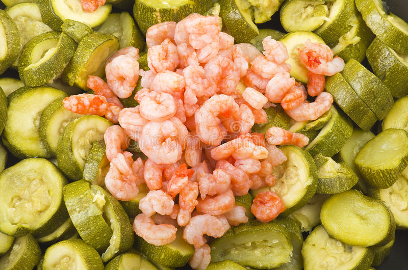 Zucchini and shrimps royalty free stock photos