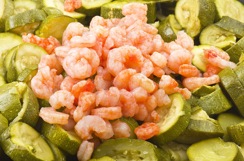 Zucchini and shrimps royalty free stock image