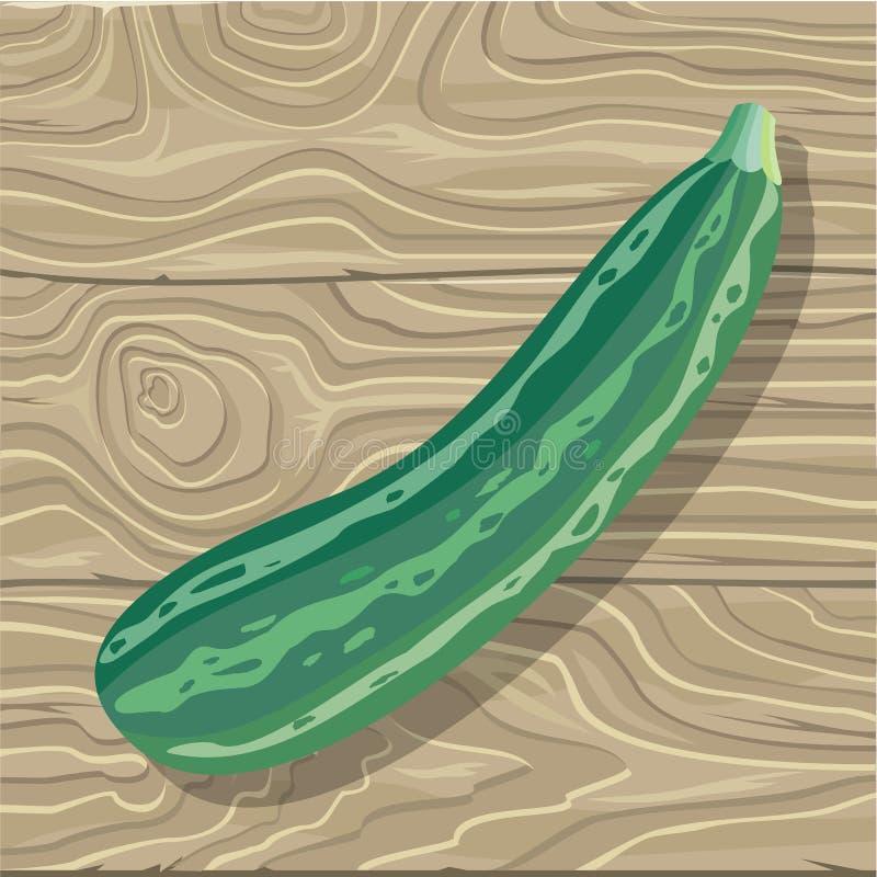 Zucchini on Wooden Background Vector Illustration royalty free illustration