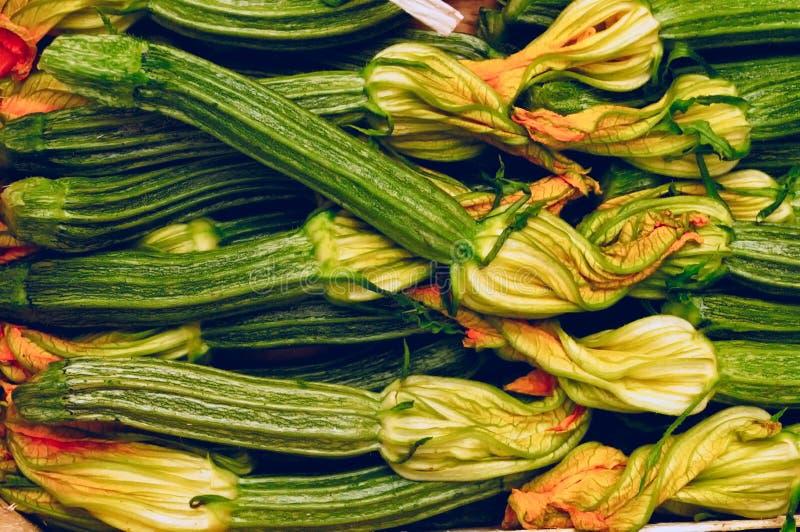 Zucchinis com flores foto de stock