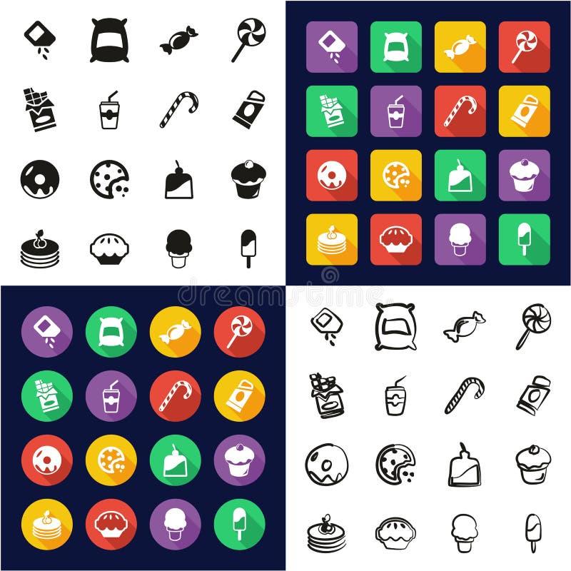 Zucker oder Sugar Food Icons All in den Ikonen eine schwarz u. weißer im Farbflacher Entwurfs-freihändigen Satz stock abbildung