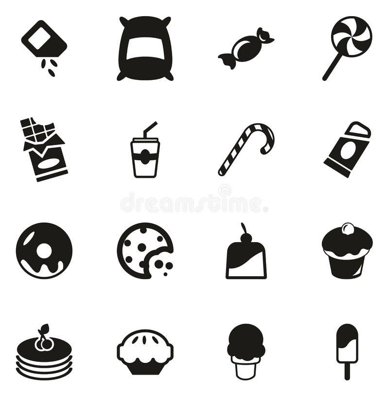 Zucker oder Sugar Food Icons stock abbildung