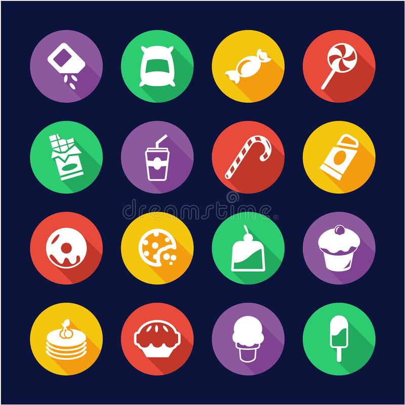 Zucker-oder Sugar Food Icons Flat Design-Kreis vektor abbildung