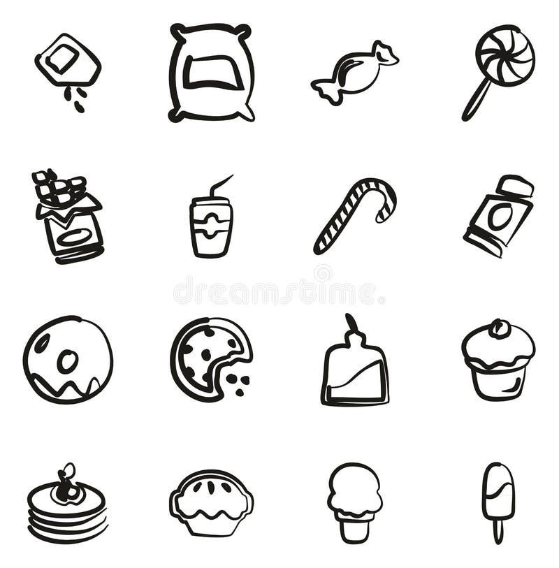 Zucker oder Sugar Food Icons Freehand lizenzfreie abbildung