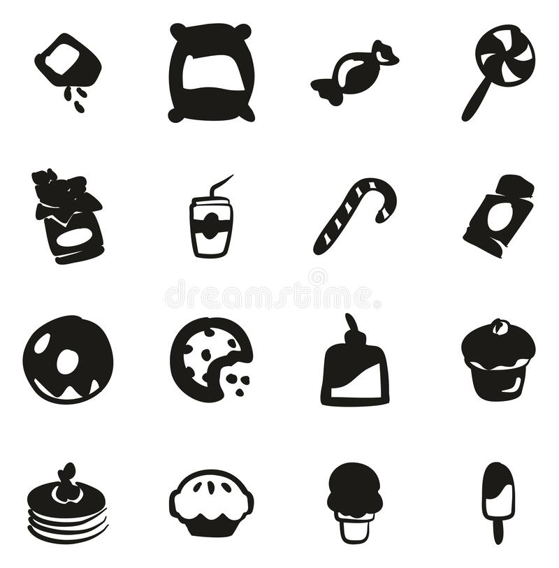 Zucker oder Sugar Food Icons Freehand Fill vektor abbildung