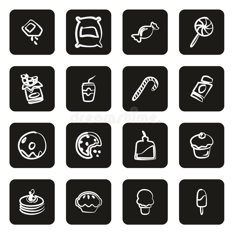 Zucker oder Sugar Food Icons Freehand White auf Schwarzem lizenzfreie abbildung