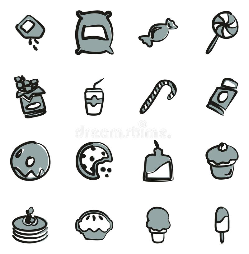 Zucker-oder Sugar Food Icons Freehands2 Farbe vektor abbildung