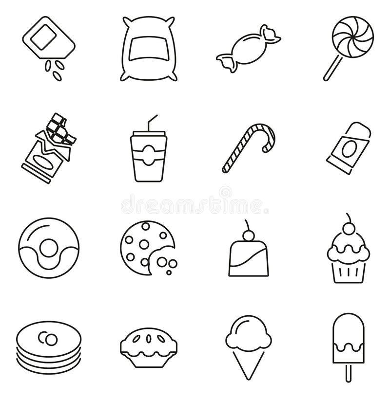 Zucker-oder Sugar Food Icons Thin Line-Vektor-Illustrations-Satz lizenzfreie abbildung