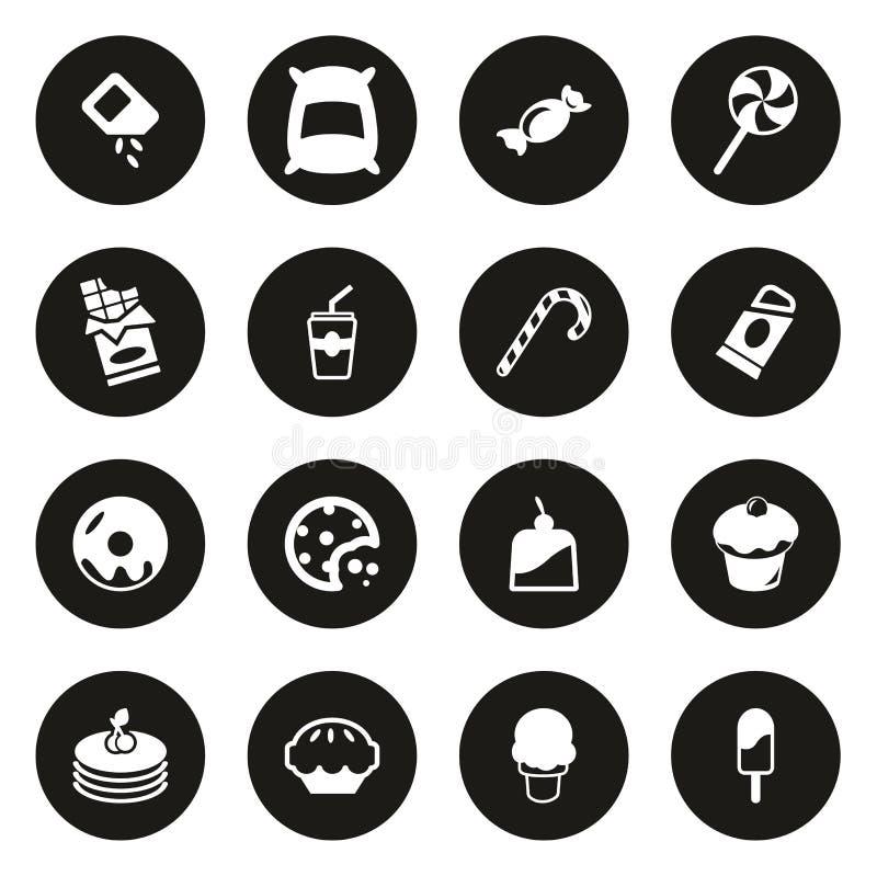Zucker-oder Sugar Food Icons White On-Schwarz-Kreis lizenzfreie abbildung