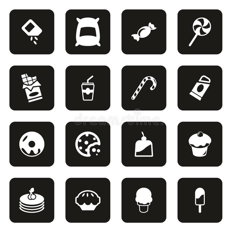 Zucker-oder Sugar Food Icons White On-Schwarzes lizenzfreie abbildung