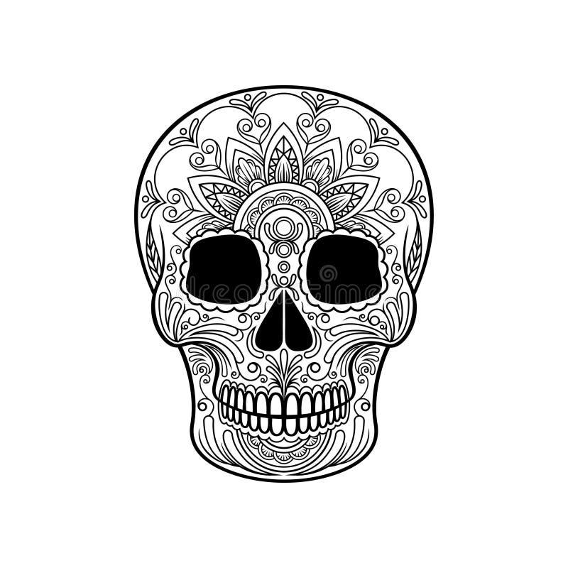 Zuckern Sie Schädel mit Blumenmuster, mexikanischer Tag der toten Schwarzweiss-Vektor Illustration lizenzfreie abbildung