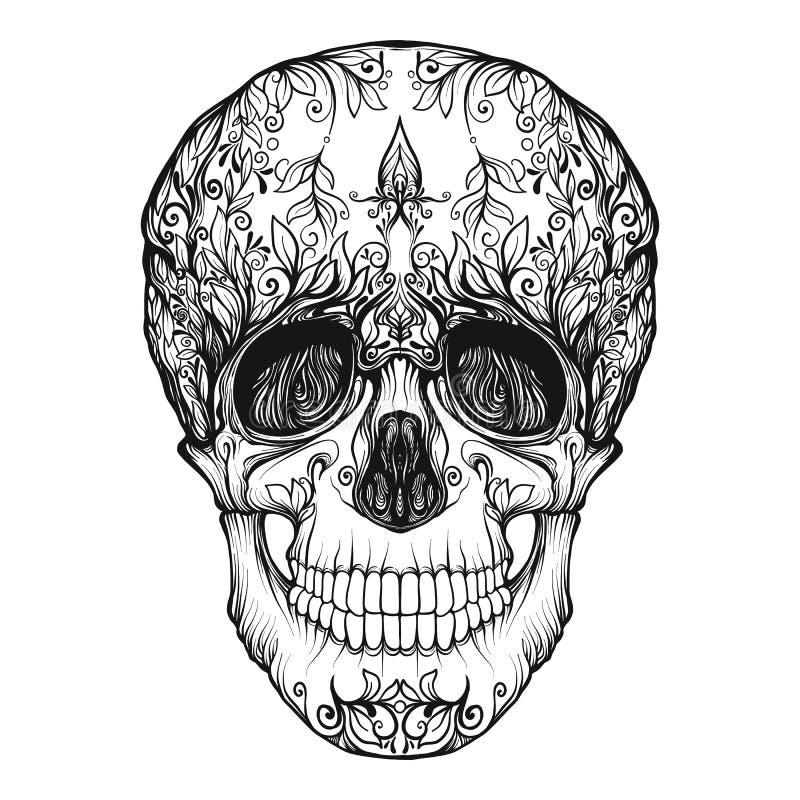 Zuckerschädel Das traditionelle Symbol des Tages der Toten vektor abbildung