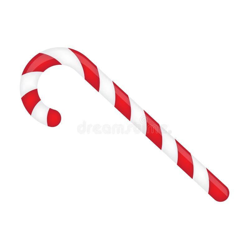 Zuckerstange gestreift in den Weihnachtsfarben Vektorabbildung getrennt auf einem weißen Hintergrund vektor abbildung