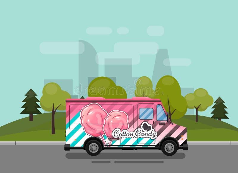 Zuckerwatte, ein Kiosk auf der Süßigkeiten, erläuterter und flacher Artvektorillustration der Räder, des Einzelhandels, der Süßig stock abbildung