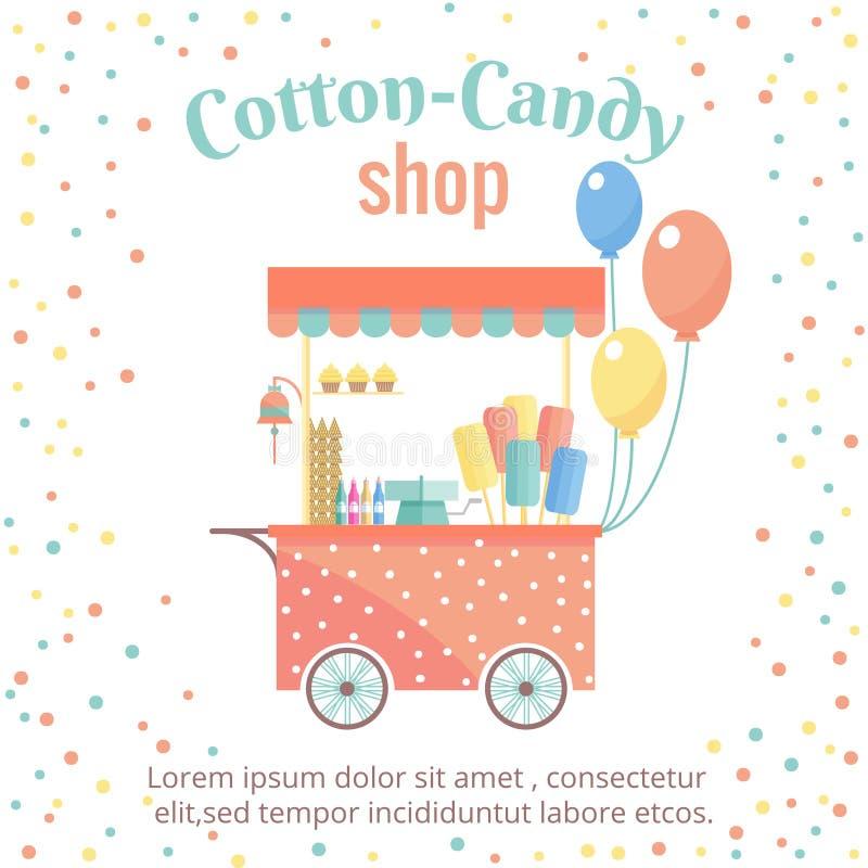Zuckerwatte- und Eiscremestraßenwarenkorb lizenzfreie abbildung