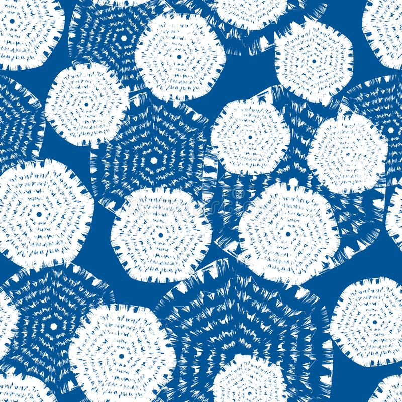 Zueco azul y blanco del vector del hexágono Conveniente para la materia textil, el papel de regalo y el papel pintado ilustración del vector