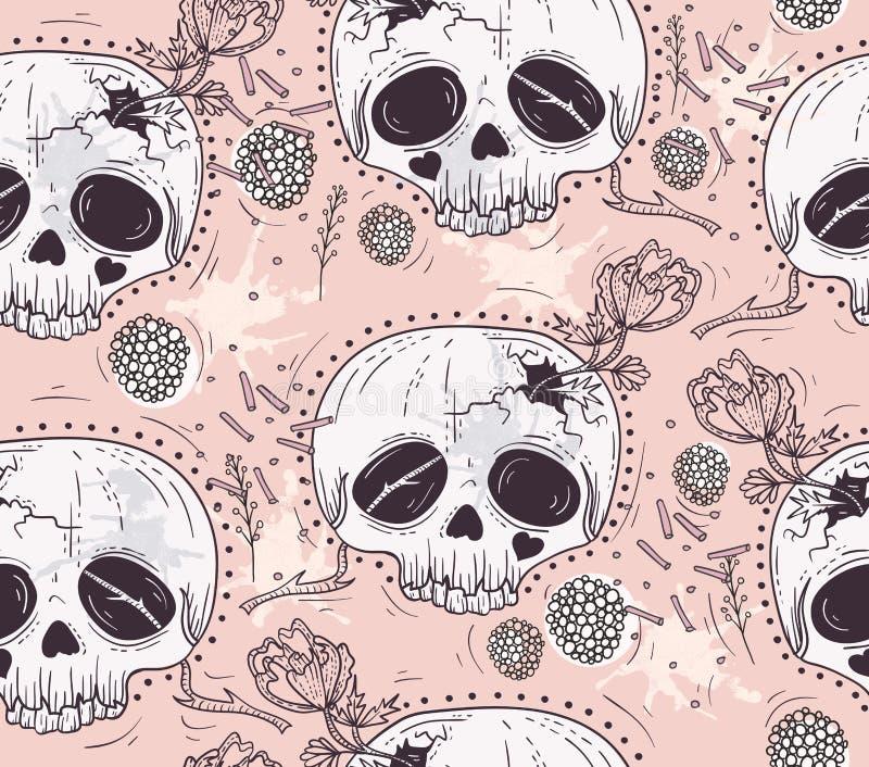 Zueco inconsútil del tatuaje del cráneo lindo del estilo ilustración del vector