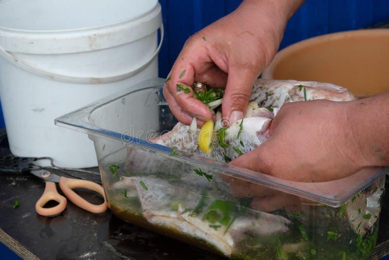 Zuerst sollten die Fische die Marinade tränken lizenzfreie stockfotografie