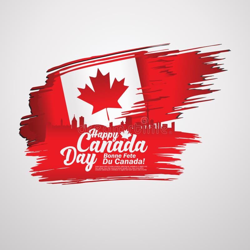 Zuerst von Tag Julis Kanada, Grußkartenhintergrund mit Typografieentwurf lizenzfreie abbildung