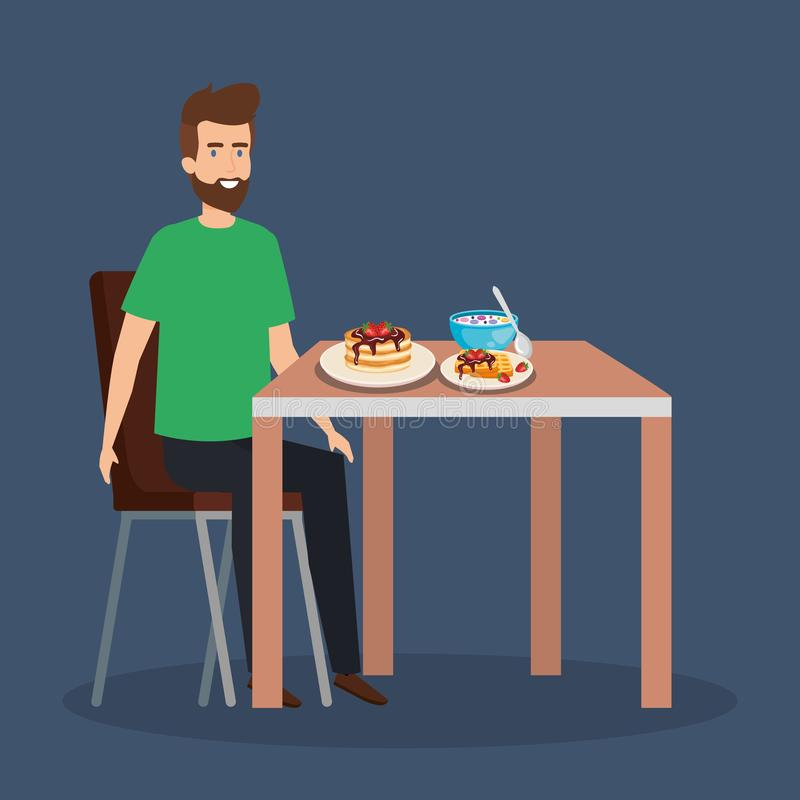 Zufällige Fleisch fressende Pfannkuchen und Getreide lizenzfreie abbildung