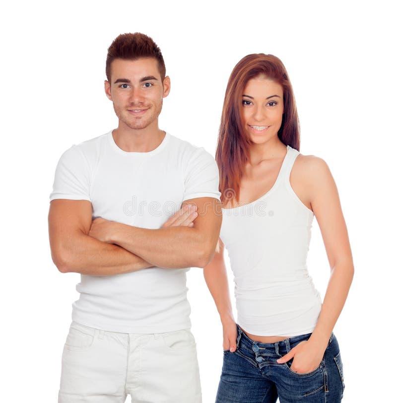 Zufälliger männlicher Kerl und recht junge Frau lizenzfreie stockbilder