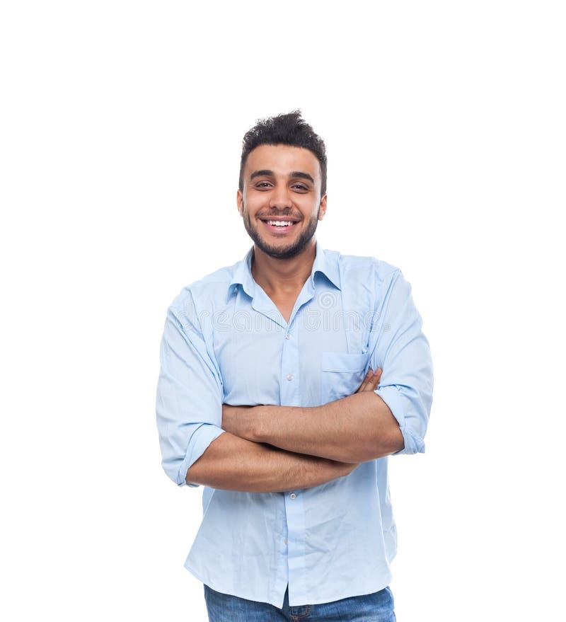 Zufälliger Mann-glückliches Lächeln junger hübscher Guy Folded Hands lizenzfreie stockfotografie