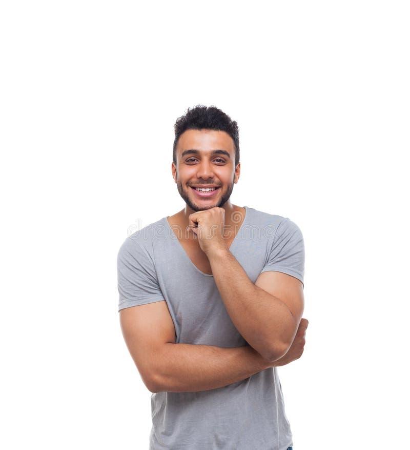 Zufälliger Mann-Handgriff Chin Smiling Young Handsome Guy stockfotografie