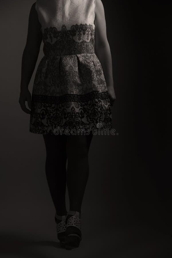 Zufälliges gesticktes Kleid für Frauen im Studio stockfotografie