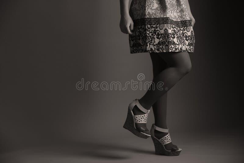 Zufälliges gesticktes Kleid für Frauen im Studio stockfotos