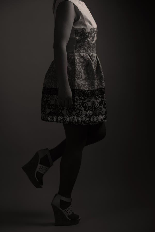 Zufälliges gesticktes Kleid für Frauen im Studio stockbild