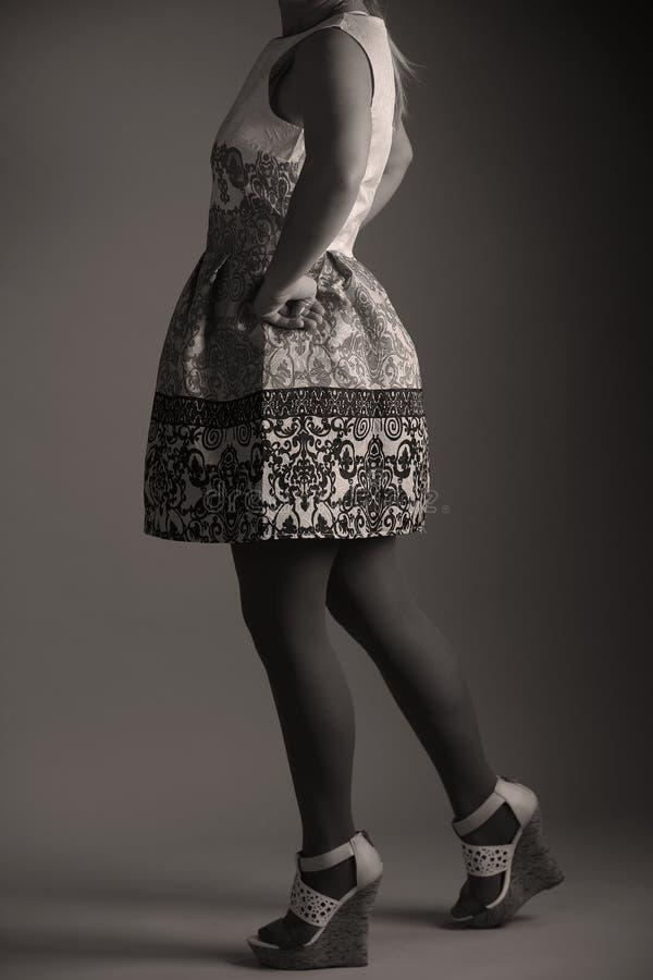 Zufälliges gesticktes Kleid für Frauen im Studio lizenzfreie stockfotografie