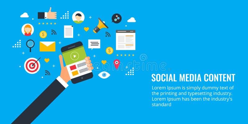 Zufriedene Formate für Social Media-Verpflichtung, Text, Video, Bild, Suche, E-Mail Flache Designmarketing-Fahne lizenzfreie abbildung