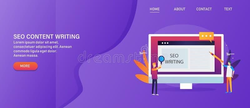 Zufriedene Forschung, Entwicklung und Veröffentlichung für Suchmaschinen-Optimierung, seo Textenkonzept stock abbildung