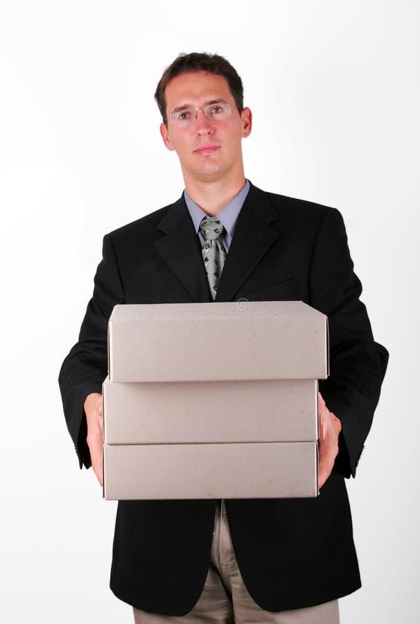 Zufriedene Geschäftsleute mit Datei lizenzfreie stockfotos