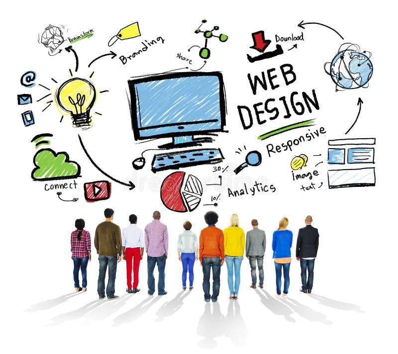 Zufriedene Kreativitäts-grafisches Plan Webdesign-Konzept lizenzfreie stockbilder