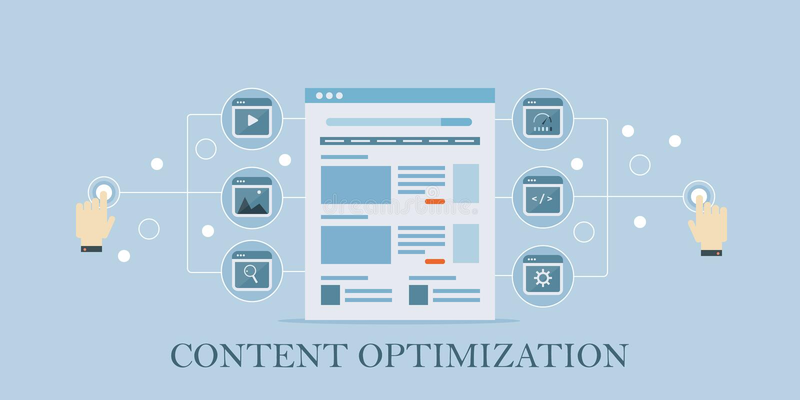 Zufriedene Optimierung, seo, Suchmarketing, Social Media, das Konzept teilt Flache Designvektorillustration stock abbildung