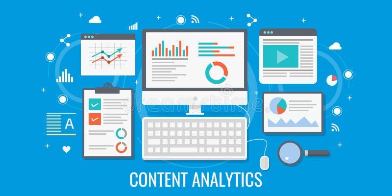 Zufriedene Optimierung und Datenanalyse, seo, digitales Marketingstrategiekonzept Flache Designvektorillustration lizenzfreie abbildung