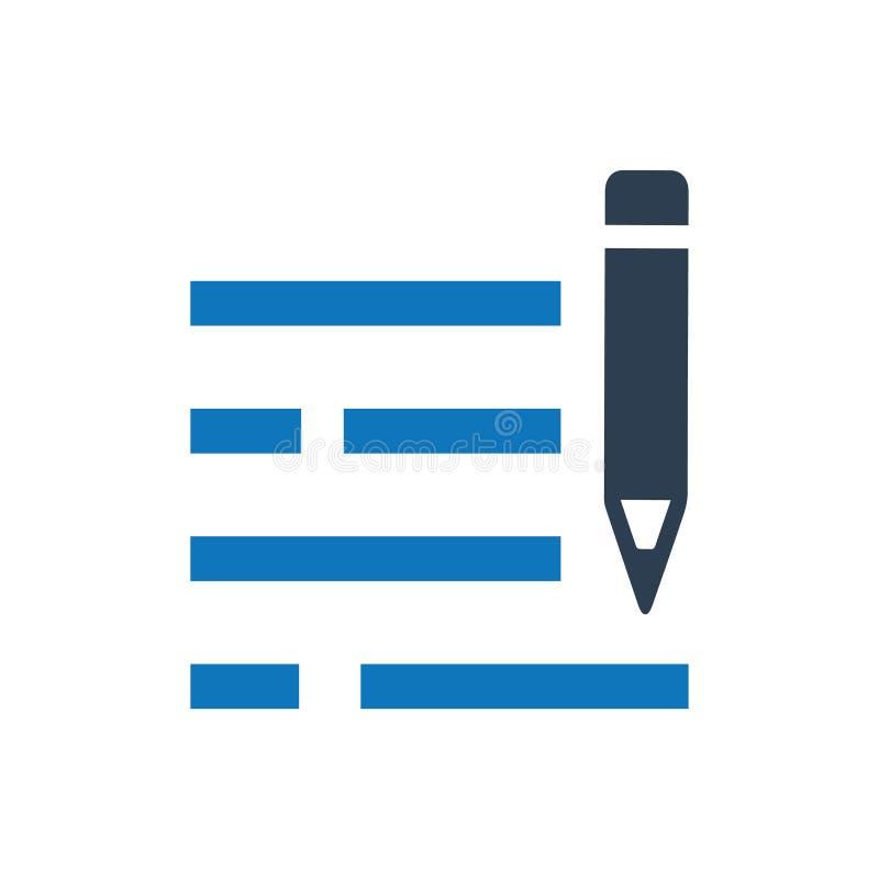 Zufriedene Schreibens-Ikone lizenzfreie abbildung