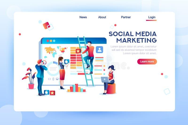 Zufriedener Analytik-Social Media-Konzept-Vektor stock abbildung
