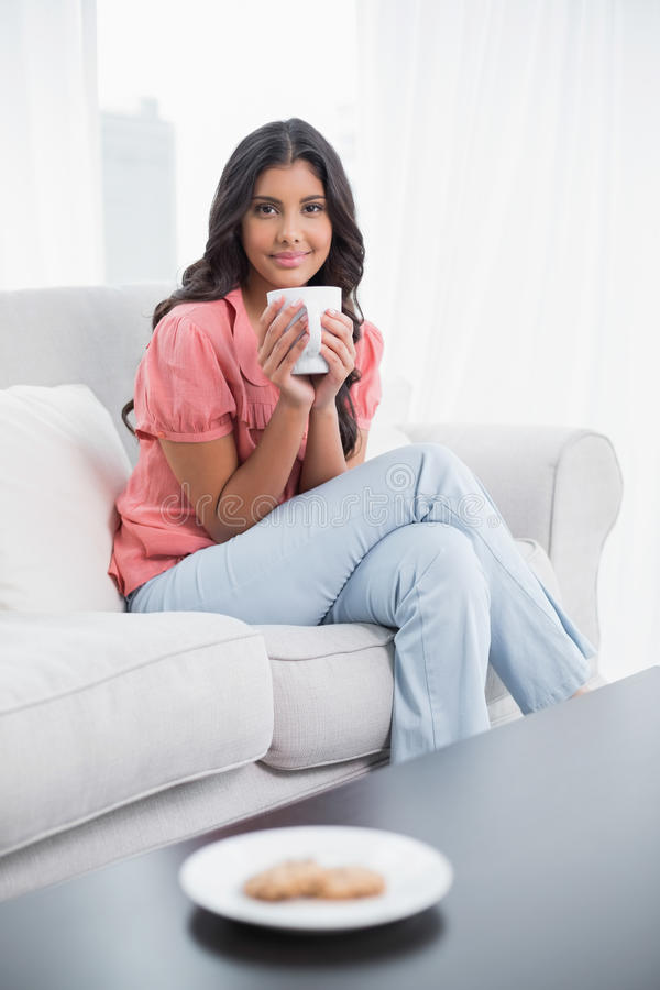 Zufriedener netter Brunette, der auf der Couch hält Tasse Kaffee sitzt stockbilder