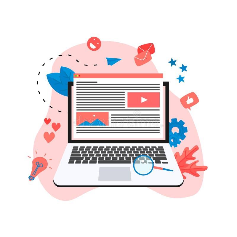 Zufriedenes Marketing, Bloggen und SMM-Konzept Artikel und Medienmaterialien stock abbildung