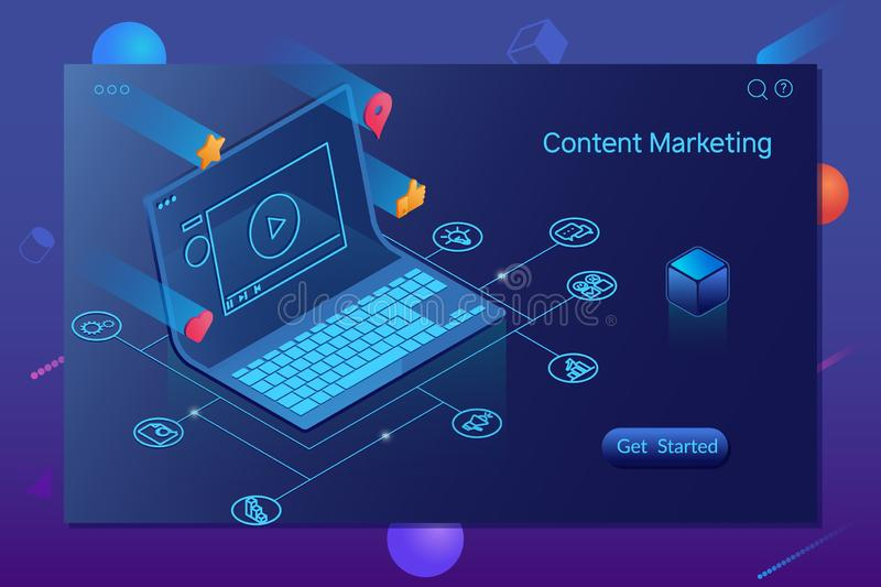 Zufriedenes Marketing, Bloggen und SMM-Konzept Landungs-Seite vektor abbildung